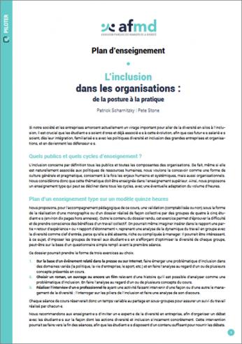 L'inclusion dans les organisations de la posture à la pratique (Plan d'enseignement)