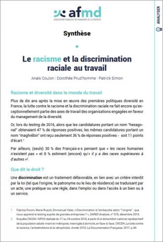 Le racisme et la discrimination raciale au travail (Synthèse)